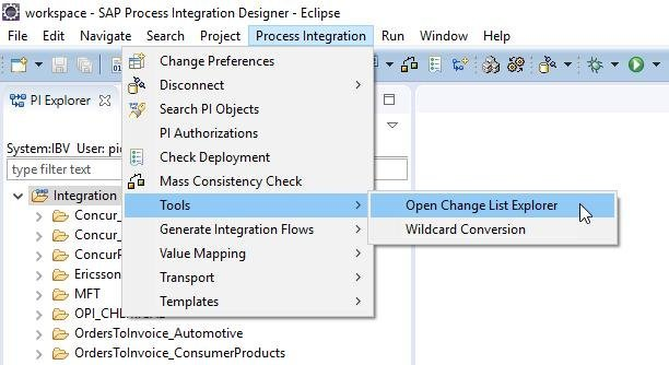 New change list explorer capability in SAP Process Orchestration