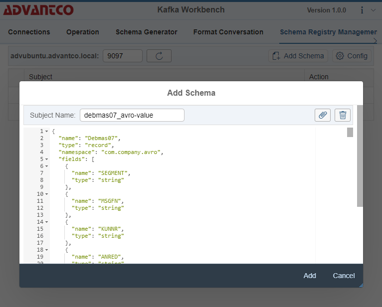 Kafka adapter with Avro serialization and Schema Registry